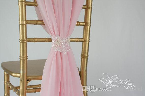 Custom Made 2016 Feminine Pink Chiffon Chair Covers Lace Chair Sashes Romantic Wedding Decorations Wedding Supplies