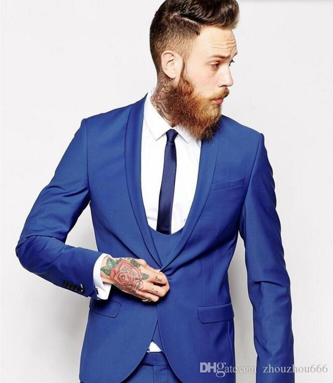 2017 Latest Coat And Pant Design Men Suits Royal Blue Groom Suits ...