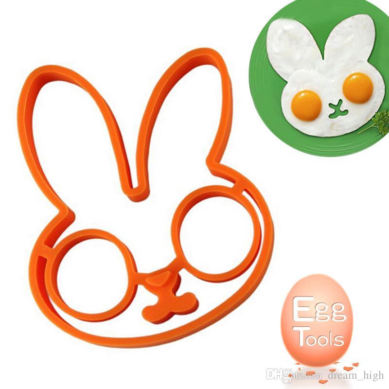 새로운 아침 식사 실리콘 토끼 튀긴 계란 금형 팬케이크 반지 셰이 퍼 요리 도구 주방 가제트 키즈 선물
