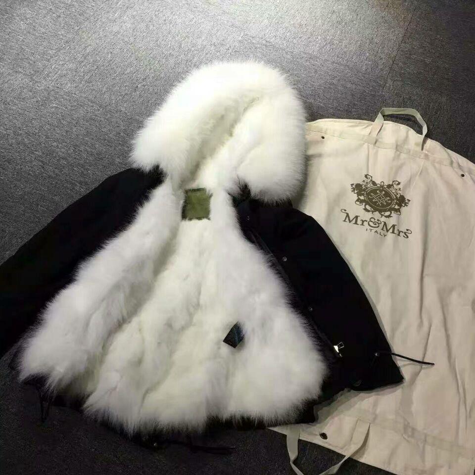 2018 White Fur Black Coat Mr & Mrs Itlay Fox Fur Lined Black Coat ...