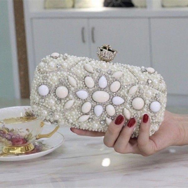 2016 neueste Luxus Mini Taschen Kristalle Perlen Braut Hochzeit Abendtasche One Shoulder Brides Wallets Handtaschen Clutches Geldbörse