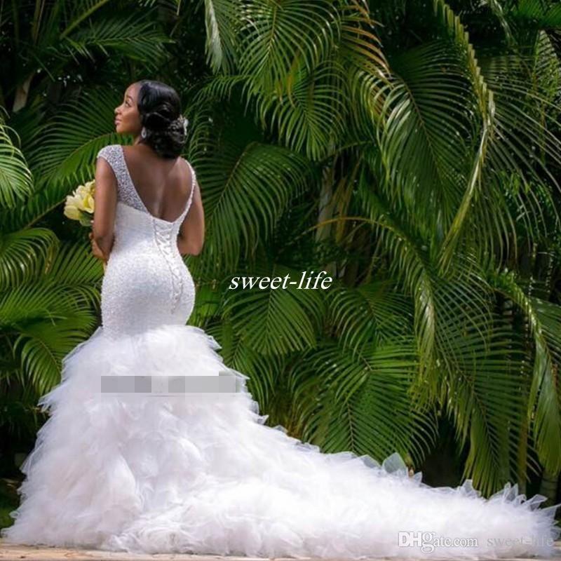 Vintage Plus Taille Taille Robe de mariée Sirène Perle Sheer Deep Vec Cou Backless Corset Ruffles Tulle Jardin Robe de mariée