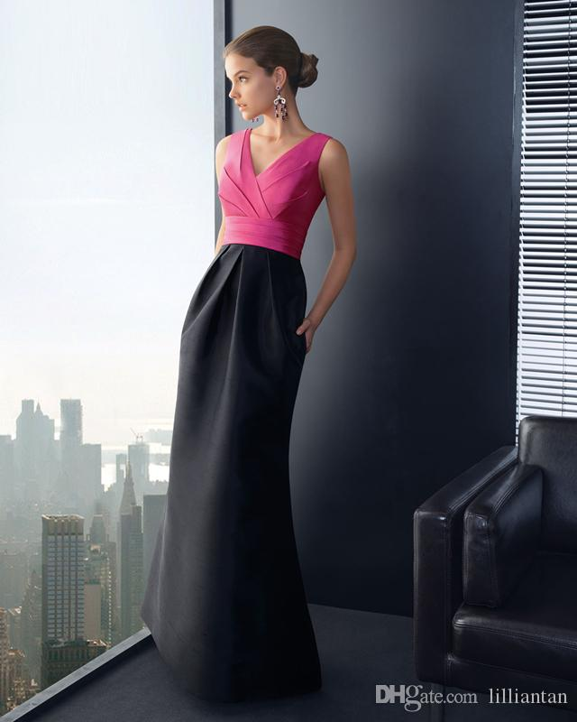 87b8276f9e Simple Fuchsia And Black Contrast Color Formal Evening Party Gowns Elegant  Evening Dress Custom Made Work Office Lady Celebrity Dresses Designer Long  ...