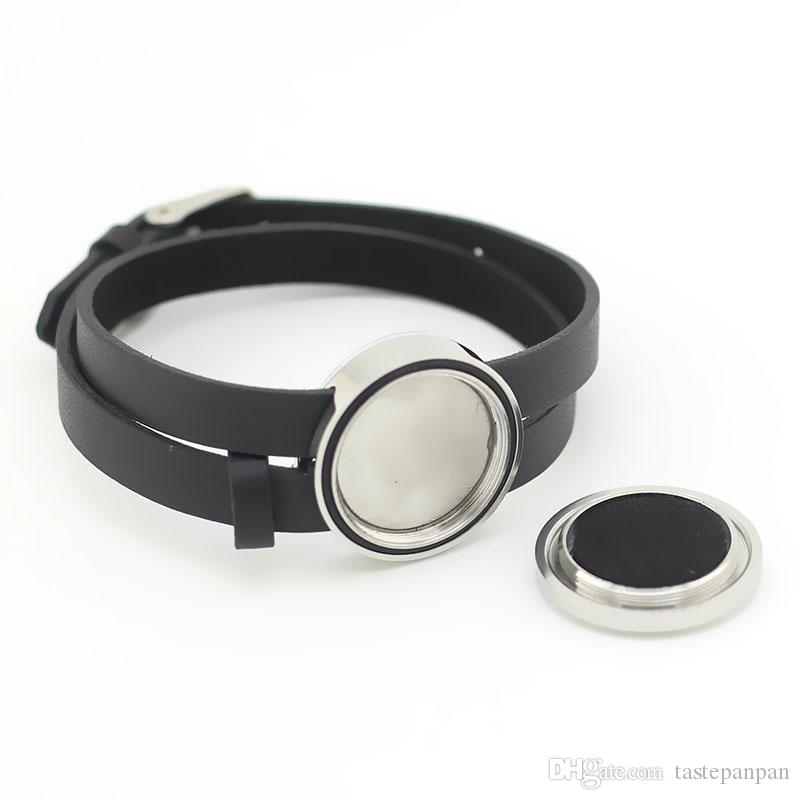 New arrival! 30mm silver twist perfume locket bracelet 316l stainless steel essential oil diffuser bracelet with leather band