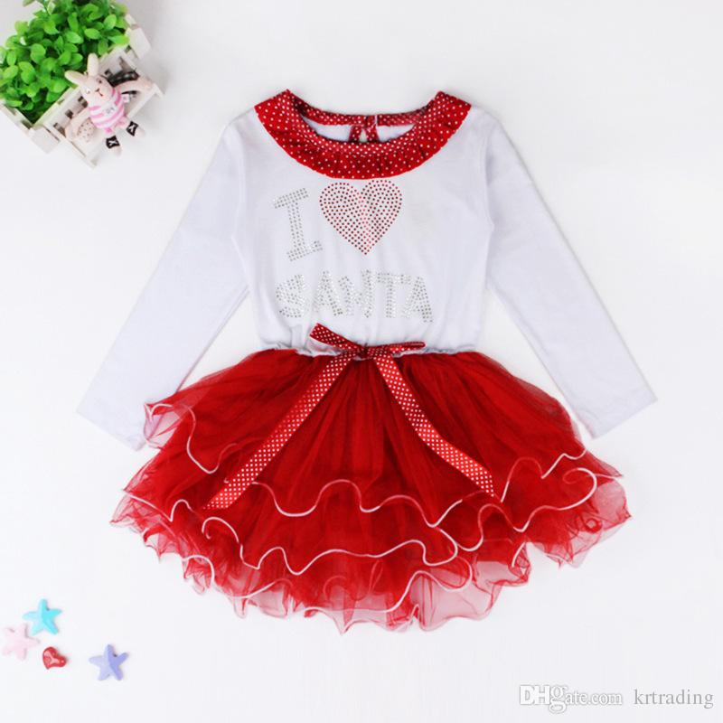 Girls Christmas tutu Dress NEW Year long sleeve dress Kids festival Layered dress Ribbon bowknot Snowman Santa loving heart printing