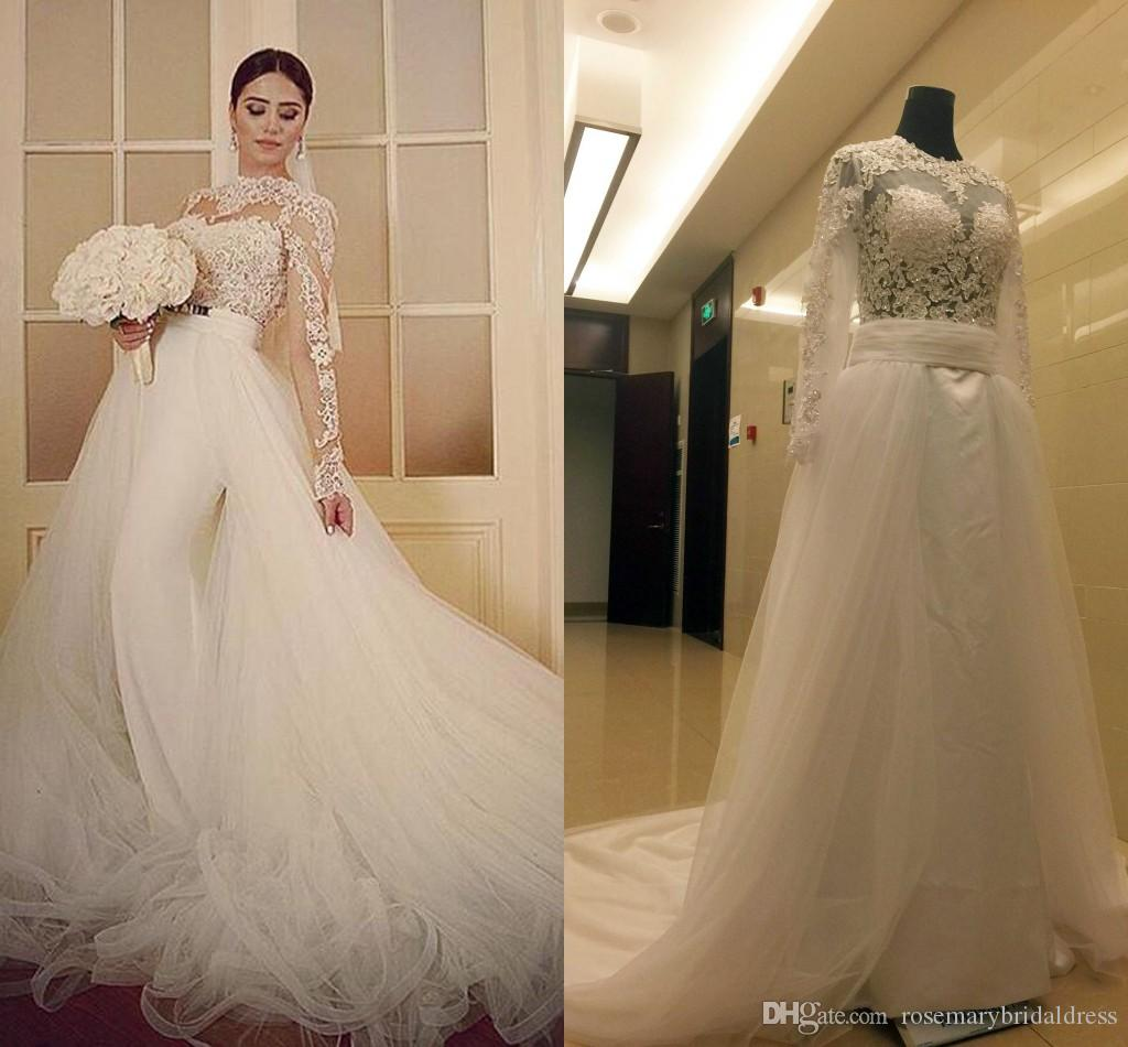 Discount Modest Lace Mermaid Wedding Dresses Sheer Long Detachable ...