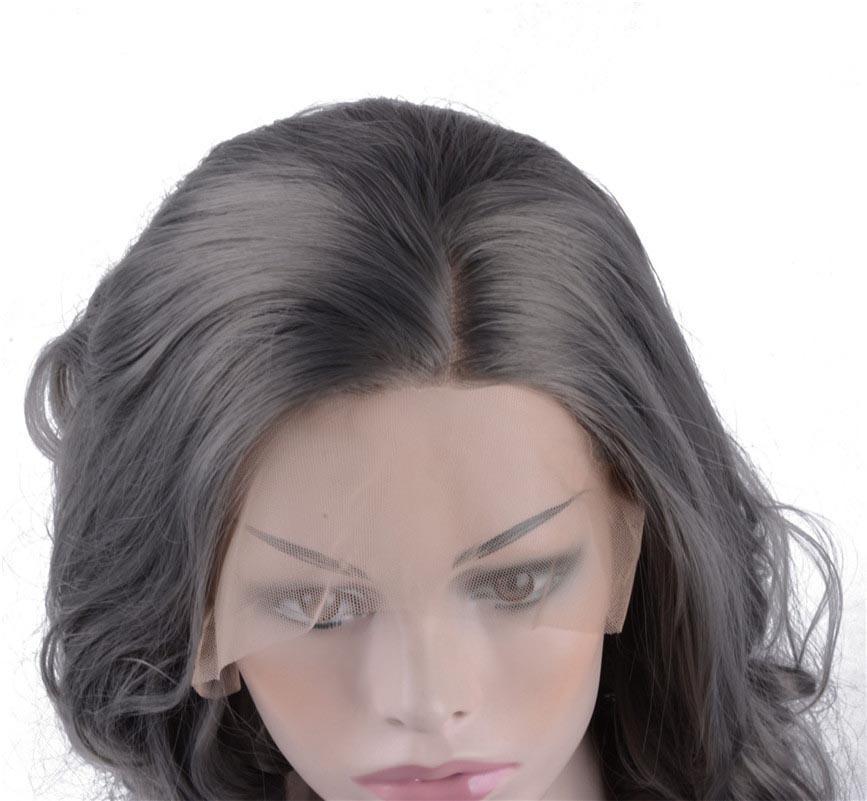Парики фронта шнурка Короткие Боб Cut Волнистые Серый Парик Термостойкие Синтетические Парики Без Клея для Женщин 14 Дюймов