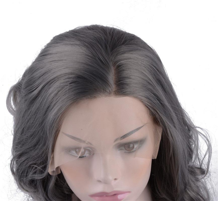 Lace Front Perücken Kurze Bob Cut Wellig Grau Perücke Hitzebeständige Glueless Synthetic Perücken für Frauen 14 Zoll