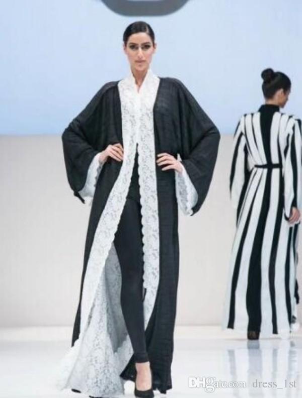 Más nuevo 2016 Abayas Abrigo Manga Larga Reversible Encaje gasa Vestidos de noche formales Kaftan Árabe Dubai musulmán vestido de fiesta de baile EN5185