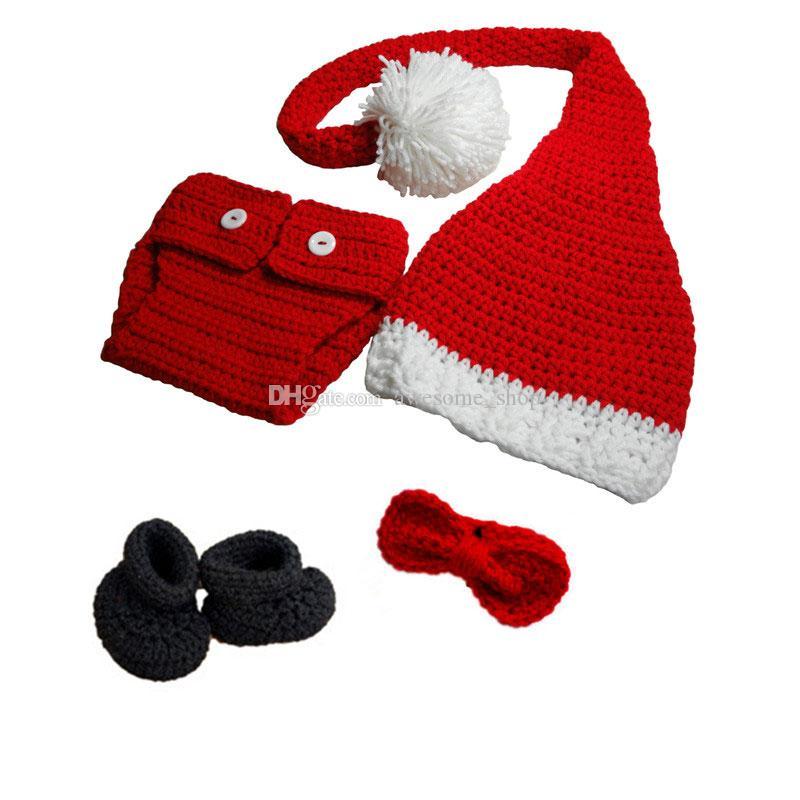 Crochet Bebê Roupa De Papai Noel, Feito À Mão De Malha Do Bebê Da Menina Do Menino Meia De Natal Chapéu, Capa De Fralda, Botinhas, Bow Tie Set, Xmans Infantil Foto Prop