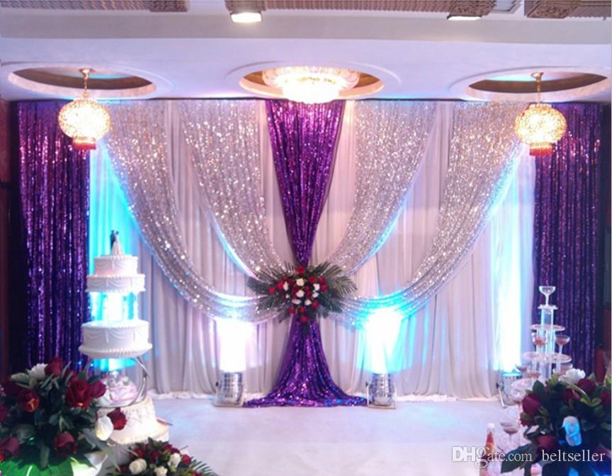 3m 6m ice silk wedding backdrop curtains with silver for Background curtain decoration