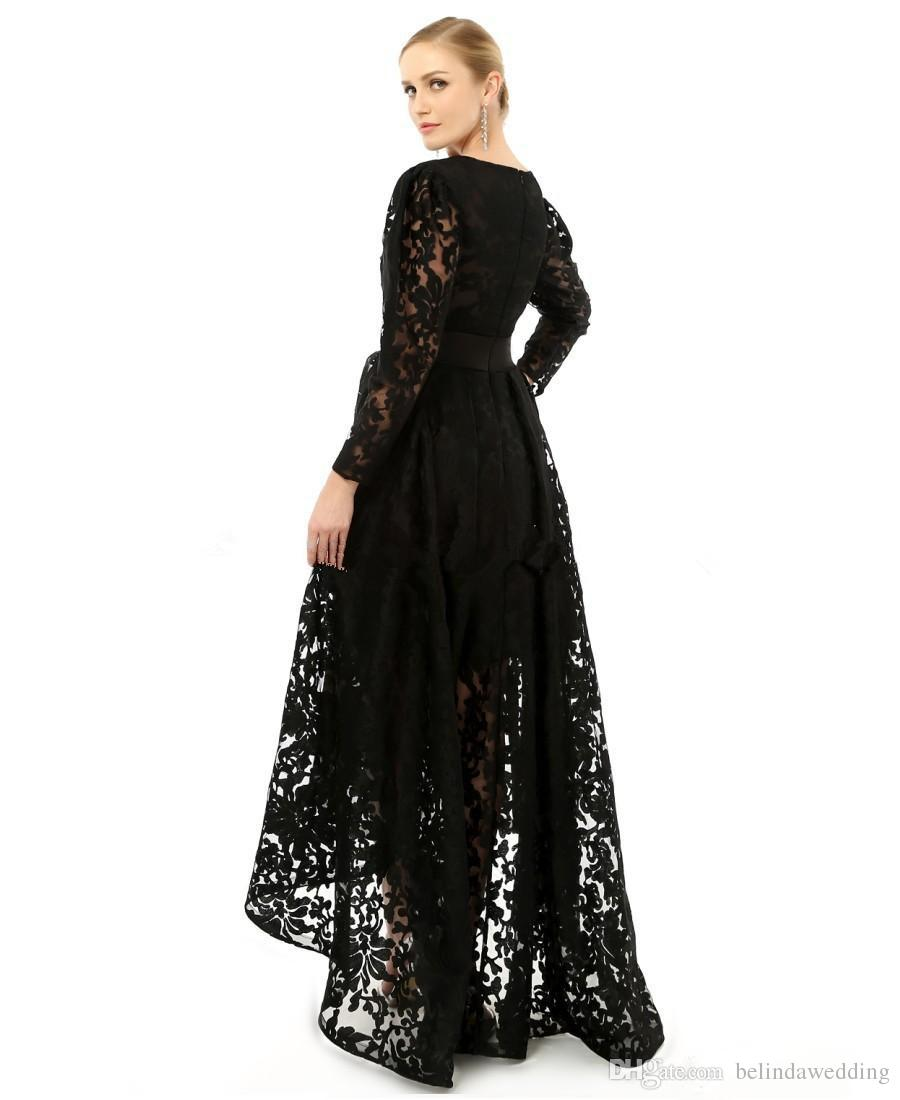 High Low Lace Neck Black Red Formal Evening Prom Dresses Long Sleeve Occasion pageant Party Gowns Arabic Plus Size