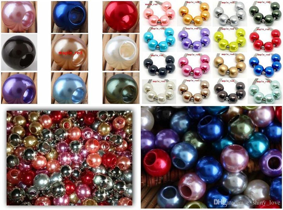 Zaffiro blu splendente perla imitazione europea perline grande foro misura braccialetto europeo e collana prezzo basso.