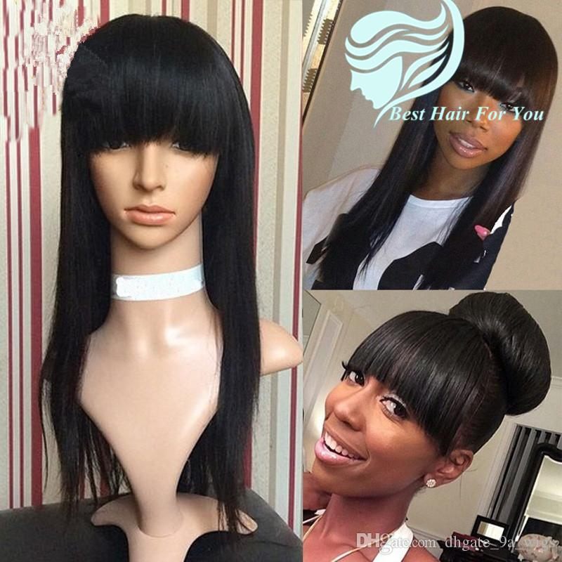 Long Silky Straight Glueless Brazilian Virgin Full Lace Human Hair Wigs with Bangs 130 Density Swiss Lace Front Wigs Fringe