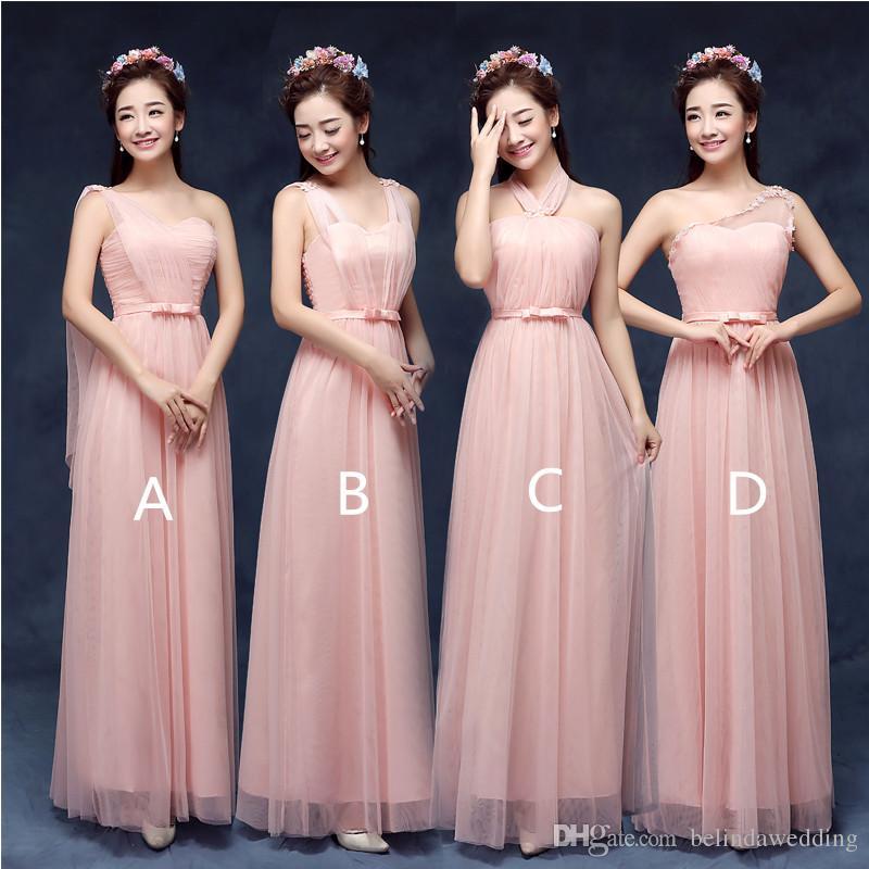 2017 Hot Cheap Bridesmaid Dresses Pink Blush/Purple Prom Dresses ...