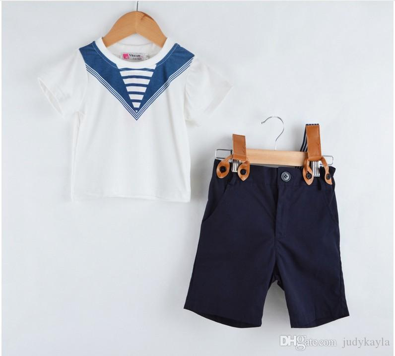 Two-Pieces Sets Navy Style 2016 Summer New Boys Short Sleeve Striped T-shirt Tops+Suspender Shorts Kids Suits Children Outfits