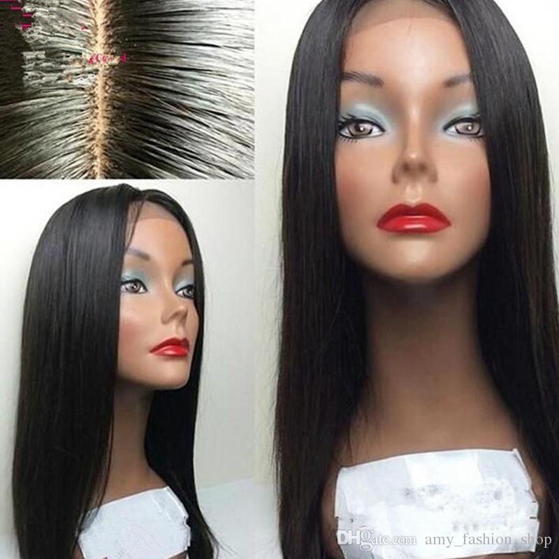 Meilleur Brésilienne Full Lace Perruques de Cheveux Humains Soyeux Droite Cheveux Humains Avant de Lacet Perruques Glueless Lace Wig avec Cheveux De Bébé
