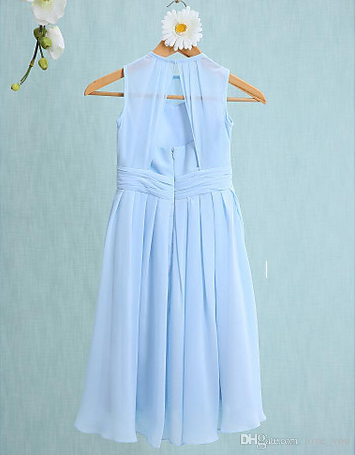 Real Images Simple Junior Fromal Dresses A-line Jewel Tea-length Ruched Bodice Chiffon Wedding Dress Bridesmaid Dress Custom Made