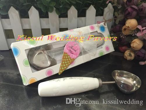 10 peças / lote melhor presente de casamento para os convidados colher de amor em forma de coração colher de sorvete em polka dot caixa de presente favor do casamento