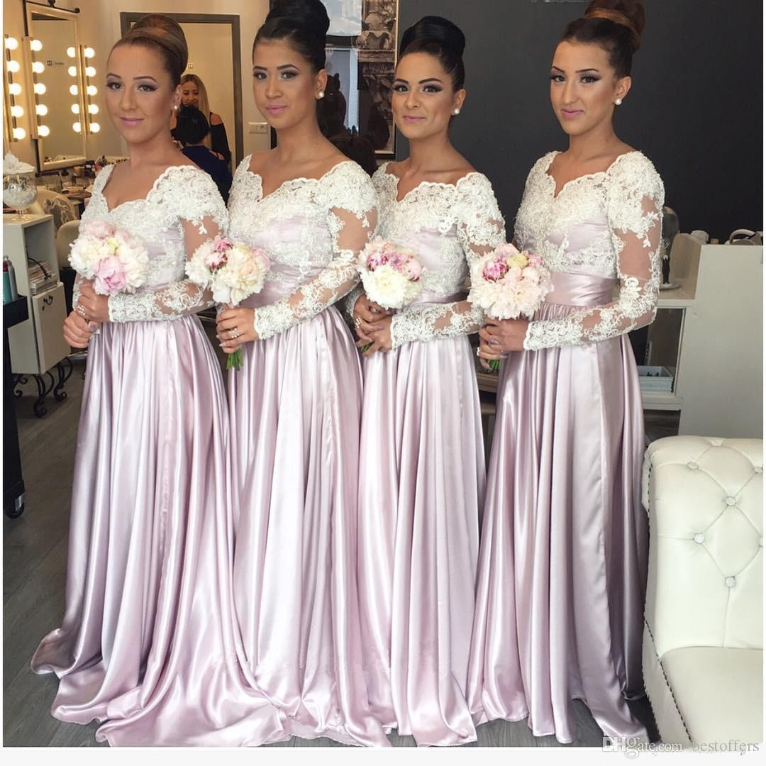 2016 Long Sleeve Bridesmaid Dresses Lace Top A Line Elastic Satin ...