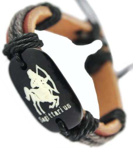 Brazalete de cuero genuino marrón negro de la pulsera de la venta al por mayor de las porciones de la cadena de la persona que practica surf del sagitario brazalete hecho a mano del wristband de las mujeres calientes de los hombres DJ357