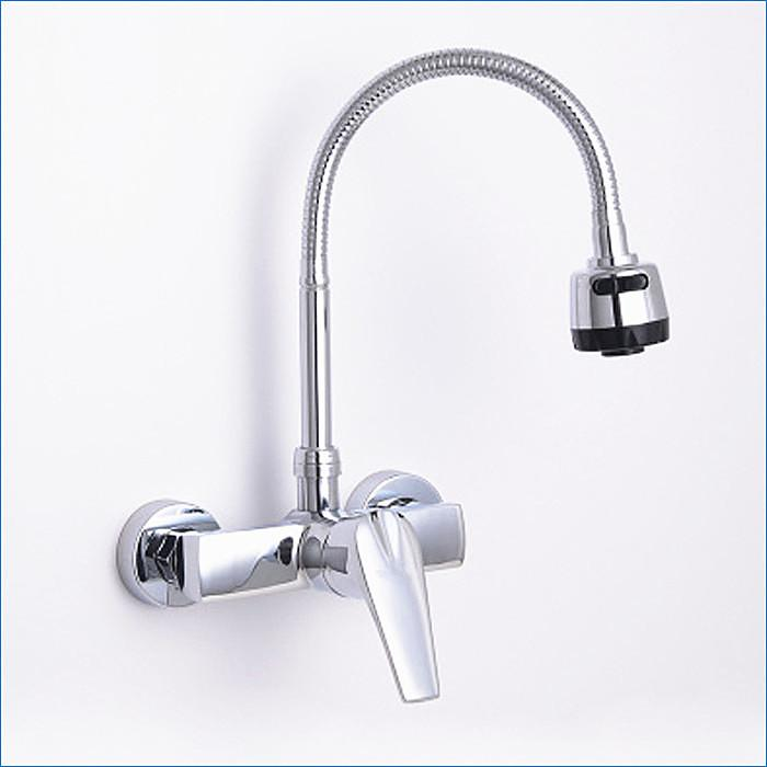 Wall Mount 2 Hole Brass Kitchen Faucet Kitchen Hot And Cold Mixer