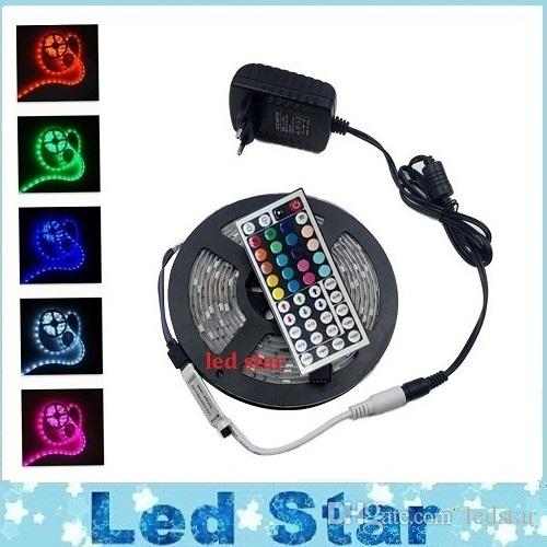 Led Strips 5m Set 3528smd 300leds Led Strip Light Waterproof 44keys Ir  Remote Controller Power Supply Adapter White/Red/Rgb Led Strips Light Blue Led  Strip ...