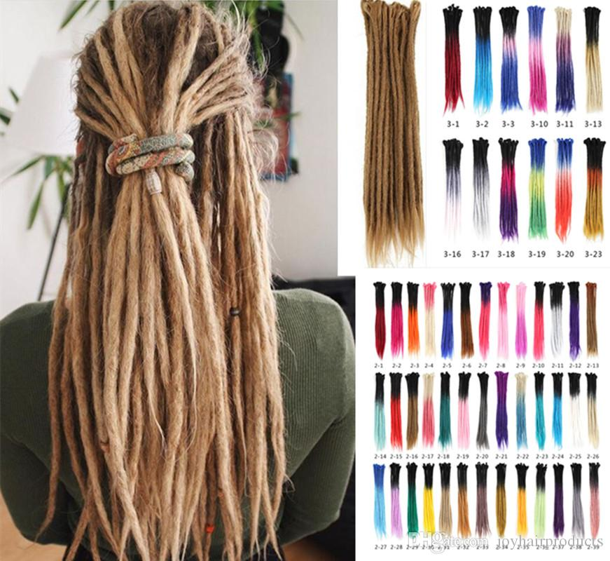 5 Roots one lot Dreadlocks Hair Different Colors Crochet Marley Handwork Hair Kanekalon Crochet Braiding Synthetic Hair Extentions