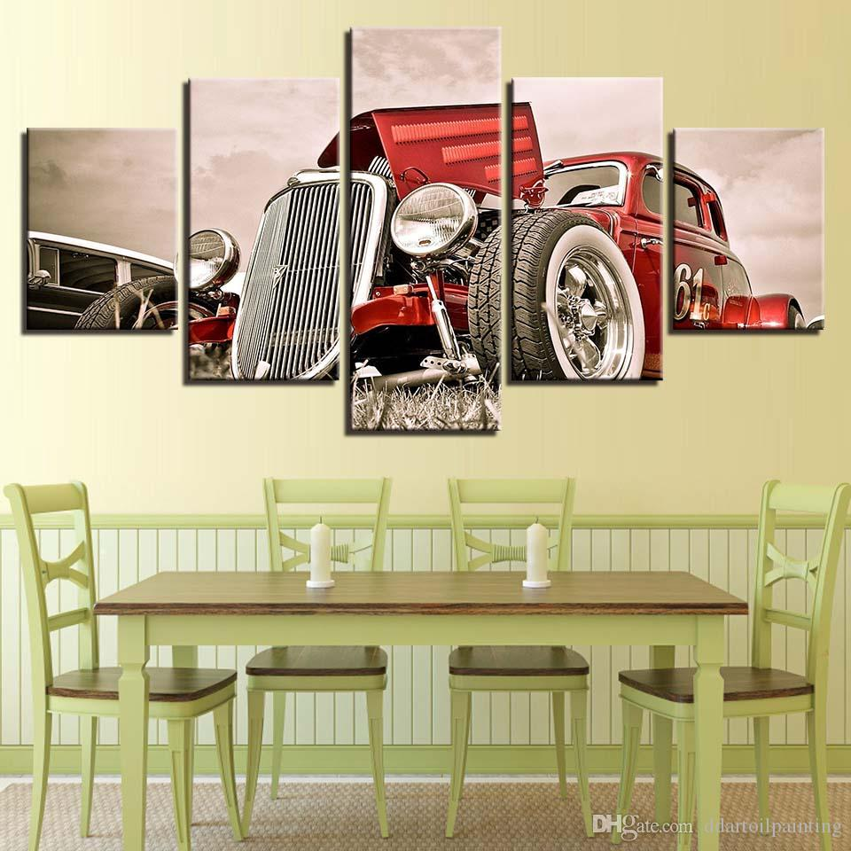 Vintage Decor LARGE 60x32 5Panels Art Canvas Print Hot Rod Red Front View Wheels Paintings Car Poster Wall Home Decor interior No Frame