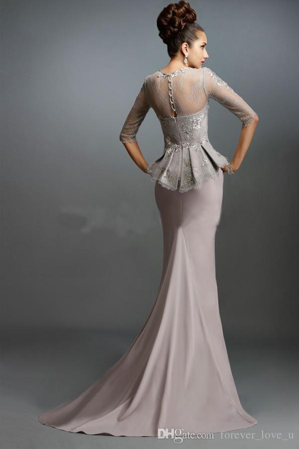 신부의 겸손한 어머니 인어 이브닝 드레스 신랑의 긴 공식적인 어머니 Peplum Illusion Sleeves 레이스 아플리케가있는 정식 가운