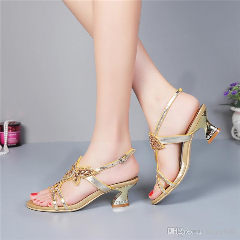 Scarpe da sposa strass tacco medio Sandali estivi cut-out Tacco largo Sandali con cinturino in vera pelle da donna Plus Size