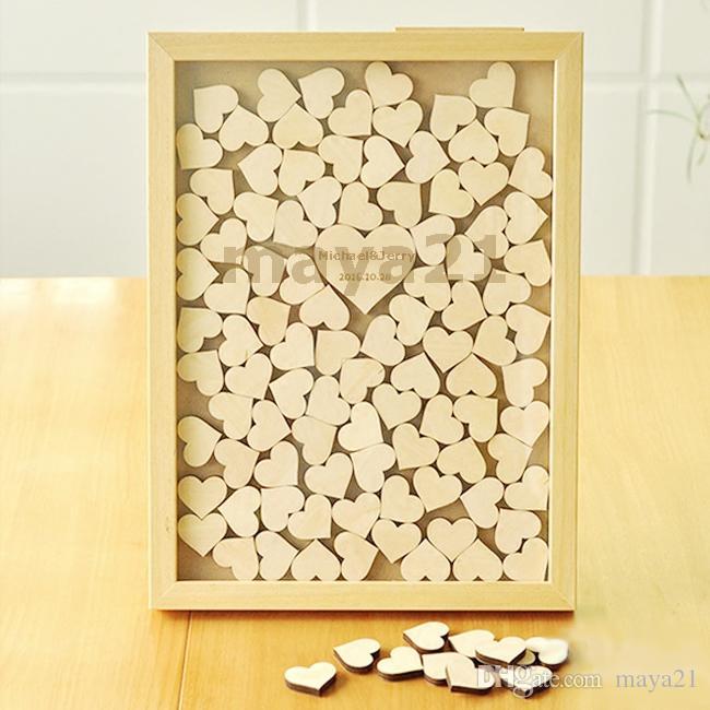 Custom Rustic Drop Top Wood Wedding Guest Book Heart Piece Sign Wood Frame Drop Box Wedding Guestbook