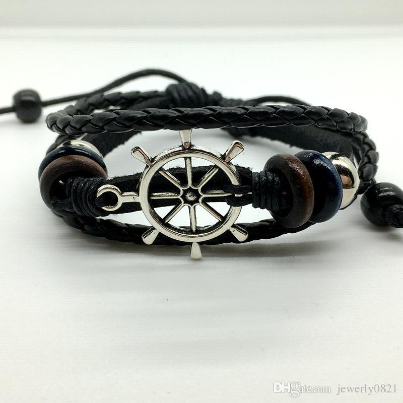 braccialetto di ancoraggio fatto a mano bracciale da uomo in pelle gufo tessuto braccialetto a più strati braccialetto di fascino braccialetti braccialetto misto gioielli braccialetto