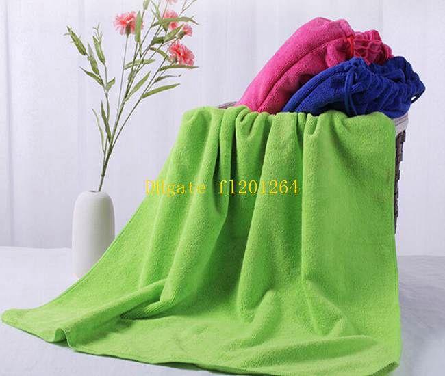 50 unids / lote Fedex envío gratis 70X140 CM microfibra algodón playa sacos sacos de natación toallas funcional plegable saco