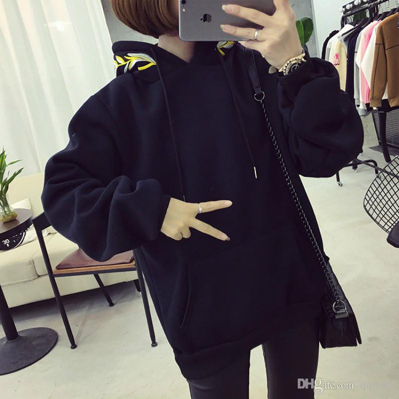 54c1b73d9e7 Autumn And Winter Harajuku Bf Wind Embroidery Olive Branch Sweatshirt Plus  Velvet Hoodie Female Couple Korean Version Online with  39.53 Piece on  Qqmall s ...