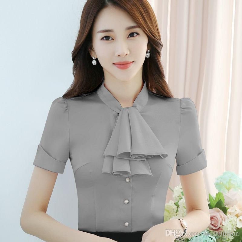 2018 elegant clothes bow tie women shirt ol style summer