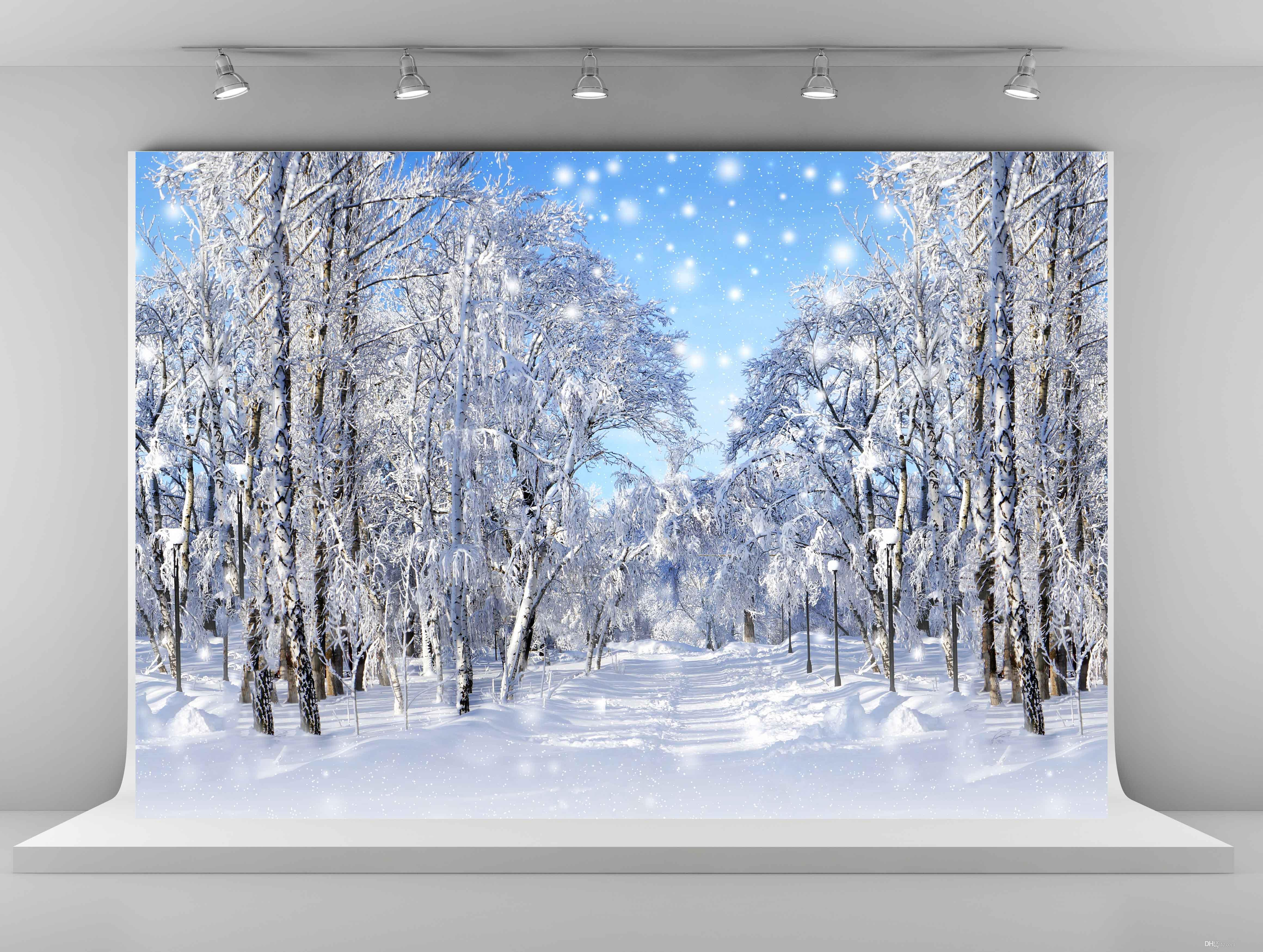 Winter photography backdrops frozen snow backgrounds for photo studio 7x5ft tree christmas backdrops shooting for wedding snowflake photo backdrops children