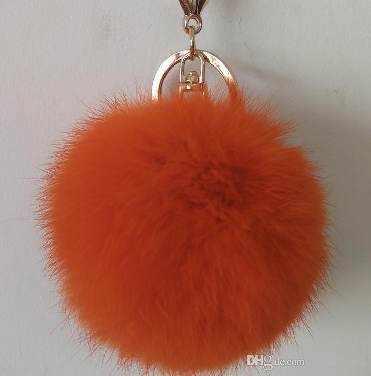 Luxury 8CM genuine rabbit fur ball plush key chain for Christmas tree ornament filler bag car key ring Bag Pendant car keychain party gift