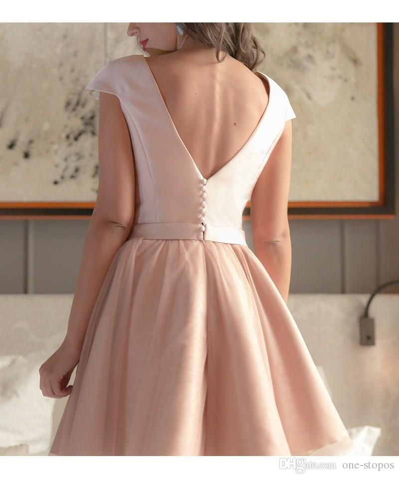 Blush Pink Junior Homecoming Dresses Jewel Neck Cap Sleeves Flowers Appliques Organza Short Graduation Party Dress Cocktail Gowns BA2952