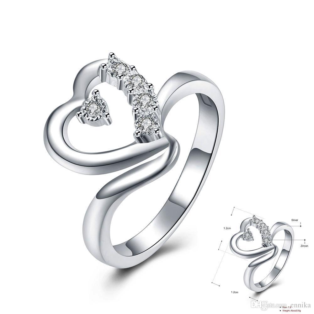 En gros 925 Bague En Argent, Bagues À Doigt De Bijoux En Diamant En Forme De Coeur Pour Femmes Nouveaux Bijoux De Mode Livraison Gratuite r860