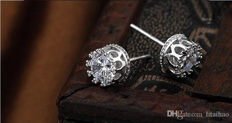 Hot! 925 sterling silver Crown shape Zircon Earrings Korea Europe for Women Wedding jewelry Factory price sales Elegant Not fade Gift box