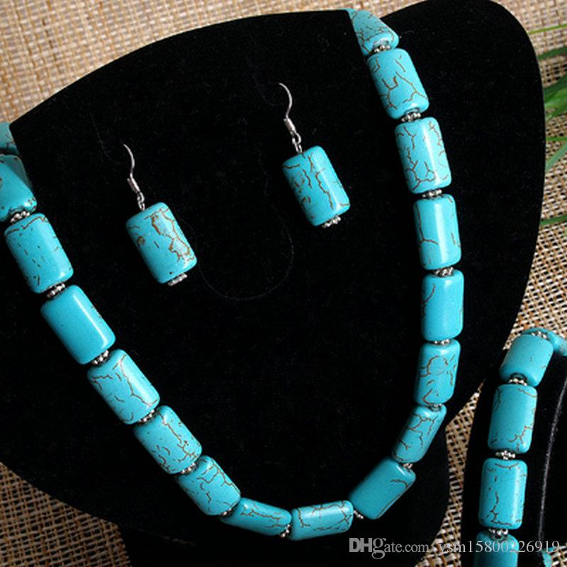 Rectangle Turquoise Beads Necklace+Bracelet+Earrings CHIC DIY hand jewelry set