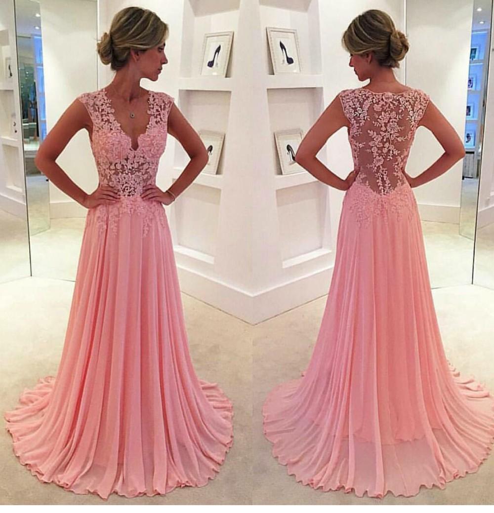 2016 lunghi abiti da ballo senza maniche sexy scollo av in chiffon pizzo rosa abiti da sera del partito le donne abiti da cerimonia con applicazioni in pizzo