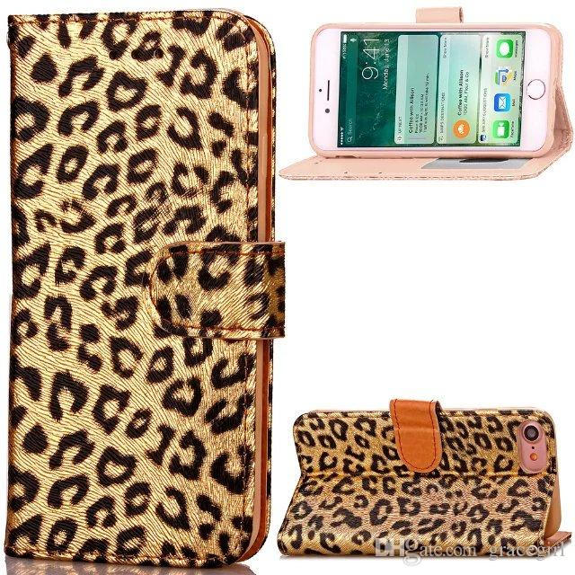 For Iphone 8 7 Plus I7 Iphone8 Luxury Leopard Flip Wallet Leather Pouch Case Photo Frame ID Card Stand Cell Phone Colorful Skin Cover 2pcs