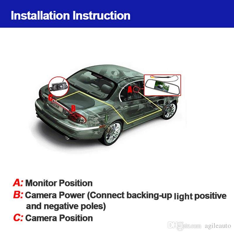 HD وقوف السيارات نظام 4.3 بوصة TFT-LCD سيارة مرآة الرؤية الخلفية مراقب + 7 أضواء الأشعة تحت الحمراء سيارة كاميرا الرؤية الخلفية CMO_345