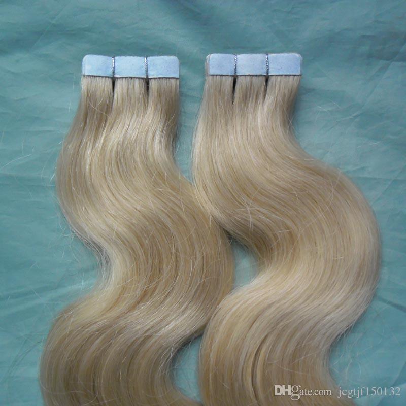 Brasilianische Haut Schuss Band Haarverlängerungen 200g Haut Schuss Band Haarverlängerungen 80 stücke Königin Haar Brasilianische Körperwelle 613 Blonde Produkte