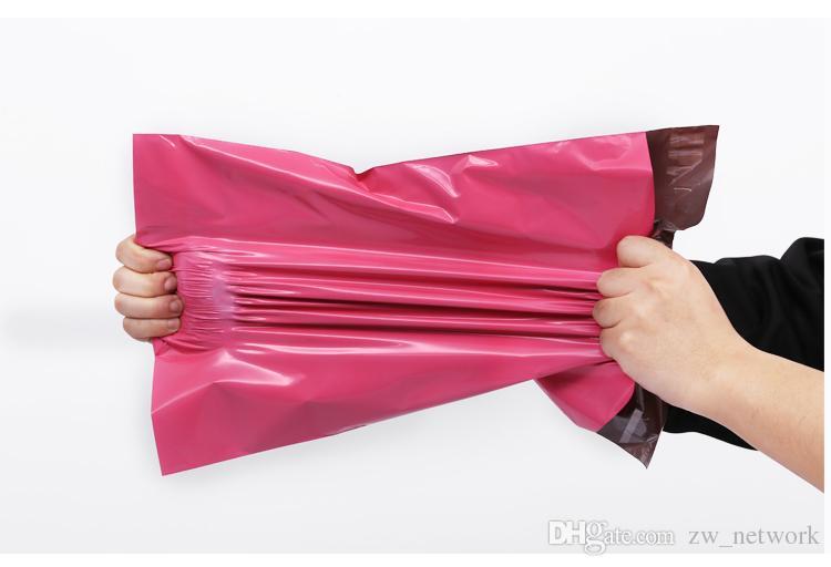 100 adet / grup Pembe Poli Mailer 10 * 13 inç Express Çanta 25 * 35 cm Posta Çanta Zarf / Kendinden Yapışkanlı Mühür Plastik torba ...