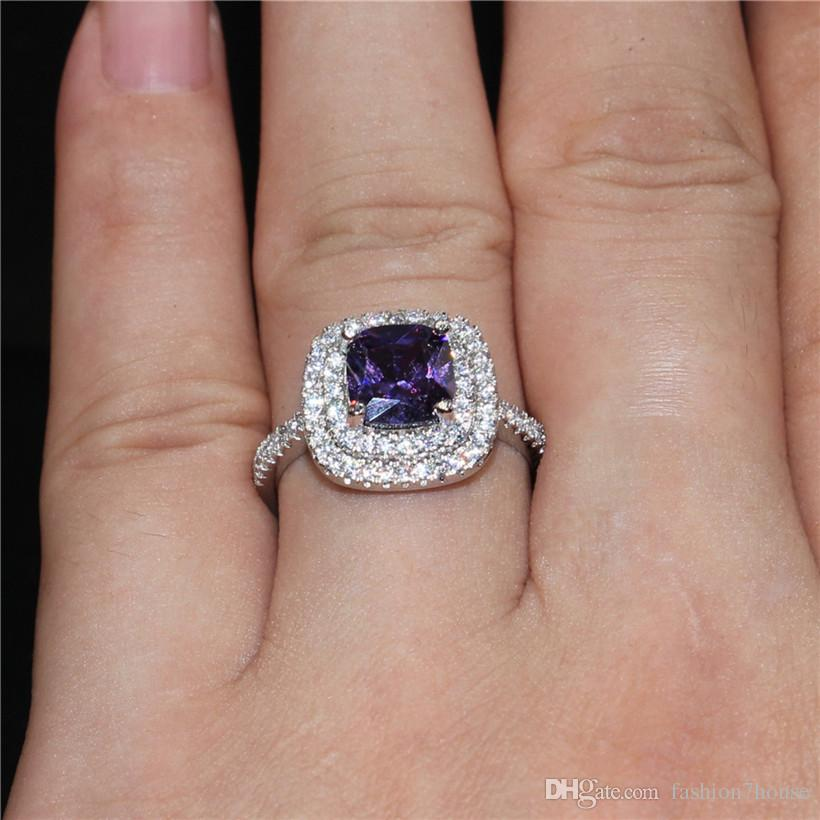 Lady's Purple Gemstone rings Jewelry 925 Sterling Silver Princess-cut 4ct crystal Diamond wedding ring for Valentine's Day gift Size 5-10