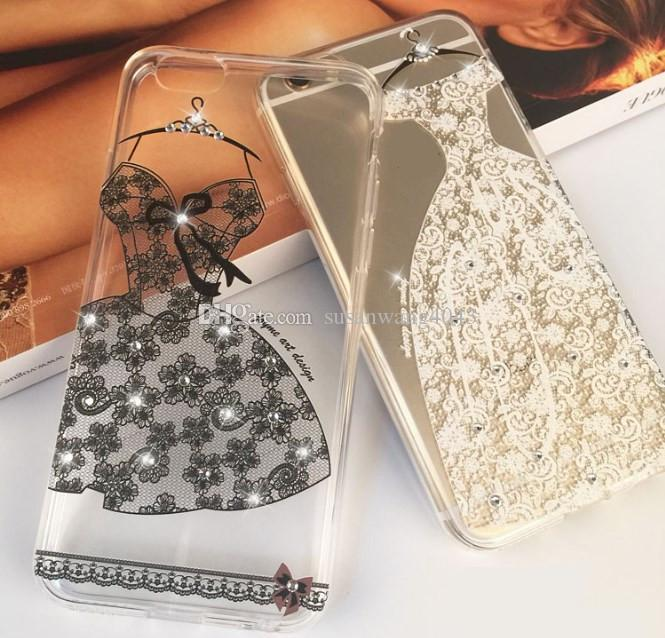 Rhinestone TPU phone case for iphone 7 6 6s plus 5s p9 vivo x7 s7 diamond defender cover case lace design protector case ship GZ137B