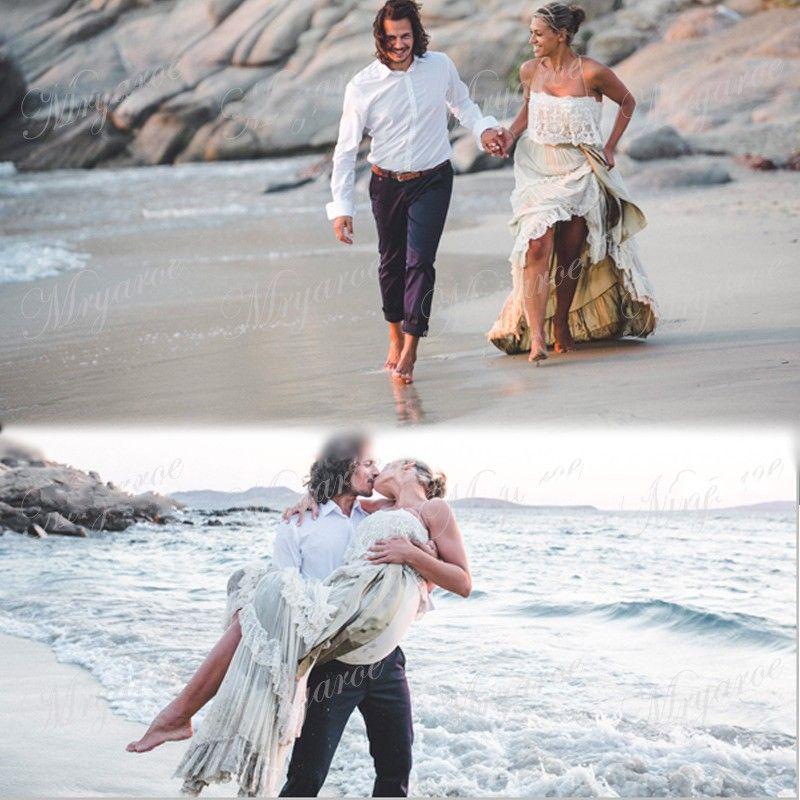 Vintage Hippie Style Boho Beach Wedding Dresses Sexy Spaghetti Straps Tiered Lace Chiffon A Line Gybsy Bridal Gowns